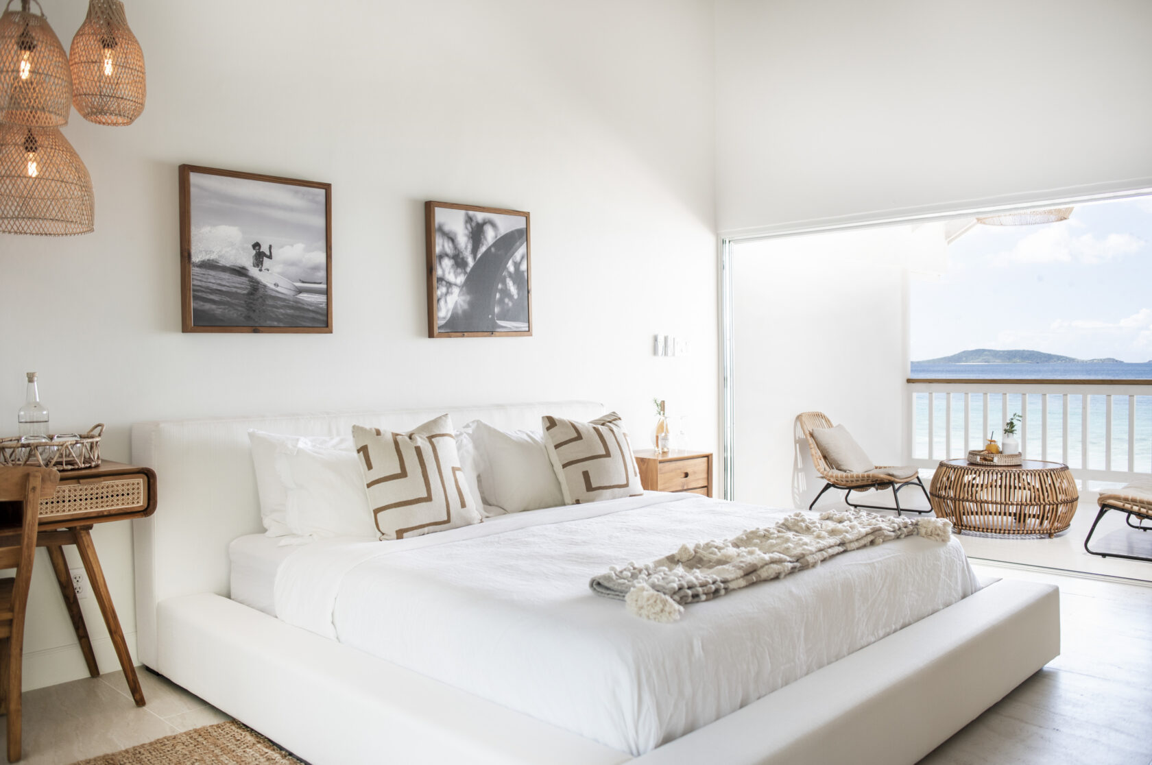 Bedroom with an ocean view