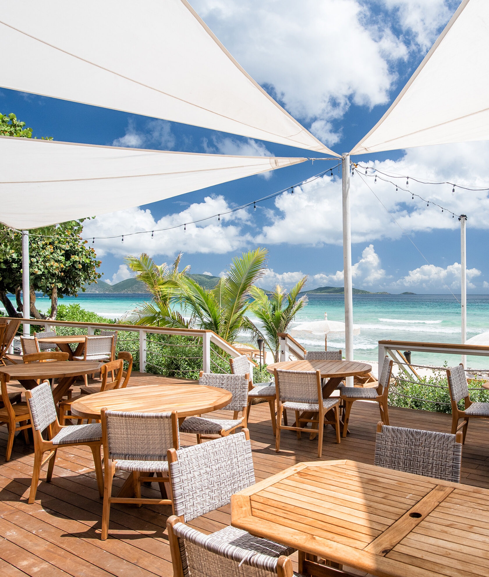 Outdoor dining by the ocean